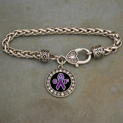 Cystic Fibrosis Awareness Braided Clasp Crystal Charm Bracelet