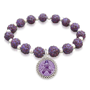 Cystic Fibrosis Awareness Sparkle Stretch Beaded Bracelet