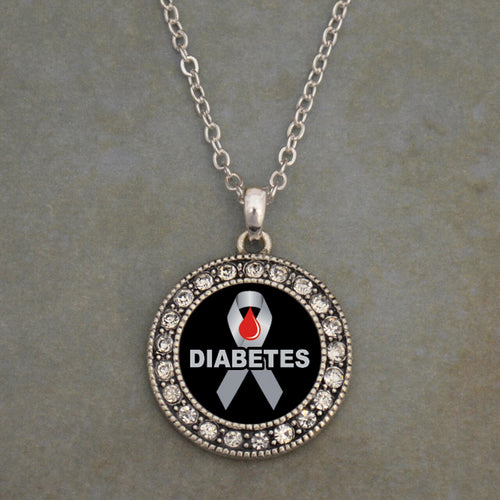 Diabetes Awareness Round Crystal Charm Necklace