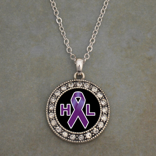 Hodgkin's Lymphoma Awareness Round Crystal Charm Necklace