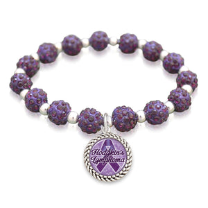 Hodgkin's Lymphoma Awareness Sparkle Stretch Beaded Bracelet