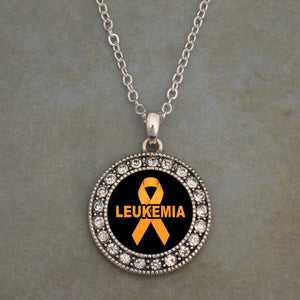 Leukemia Awareness Round Cyrstal Charm Necklace