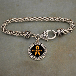 Leukemia Awareness Braided Clasp Crystal Charm Bracelet