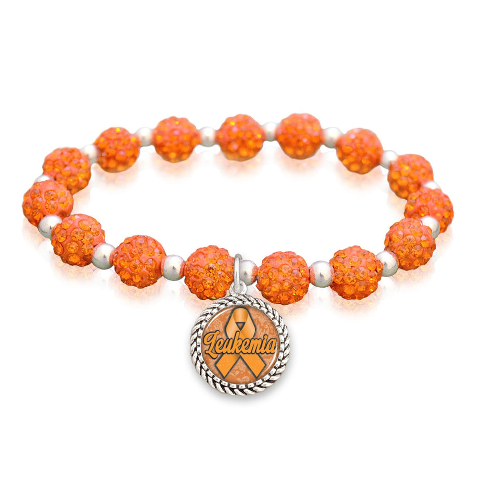 Leukemia Awareness Sparkle Stretch Beaded Bracelet