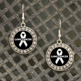 Lung Cancer Awareness Fish Hook Crystal Earrings