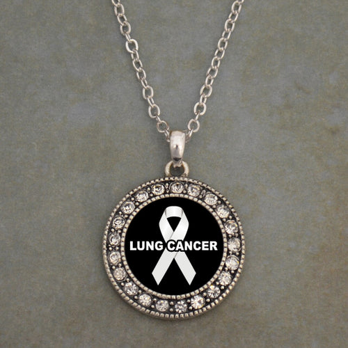 Lung Cancer Awareness Round Crystal Charm Necklace
