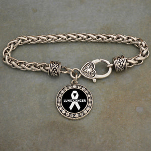 Lung Cancer Awareness Braided Clasp Bracelet