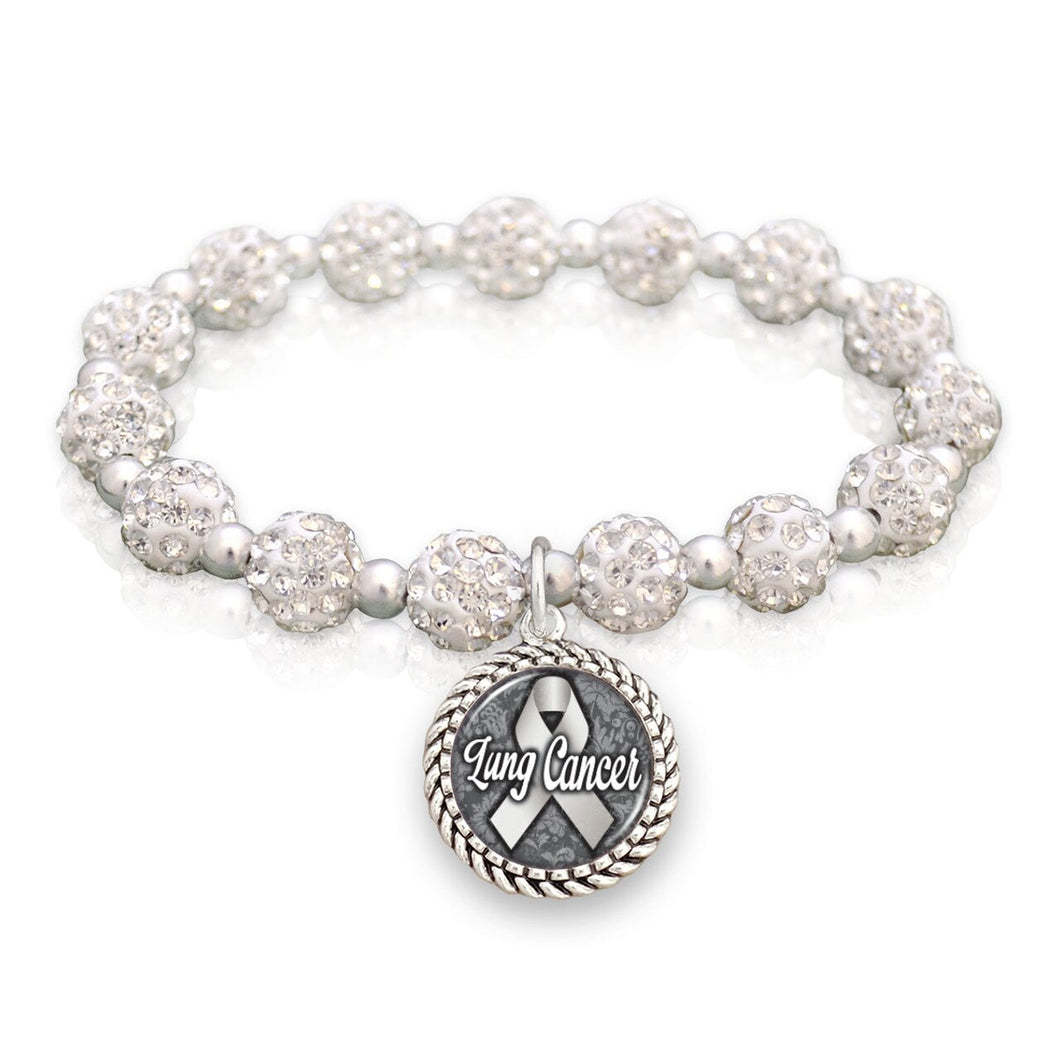 Lung Cancer Awareness Sparkle Stretch Beaded Bracelet