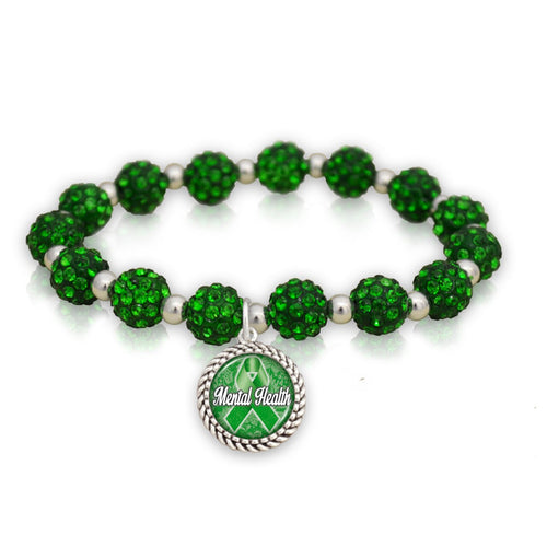 Mental Health Awareness Sparkle Stretch Beaded Bracelet
