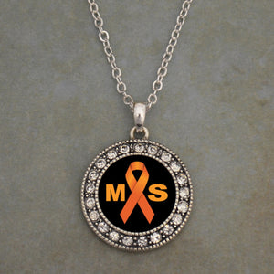 Multiple Sclerosis Awareness Round Crystal Charm Necklace