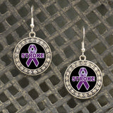 Stroke Awareness Fish Hook Crystal Charm Earrings