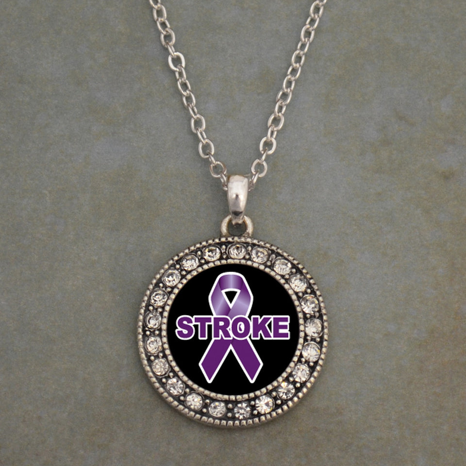 Stroke Awareness Round Crystal Charm Necklace