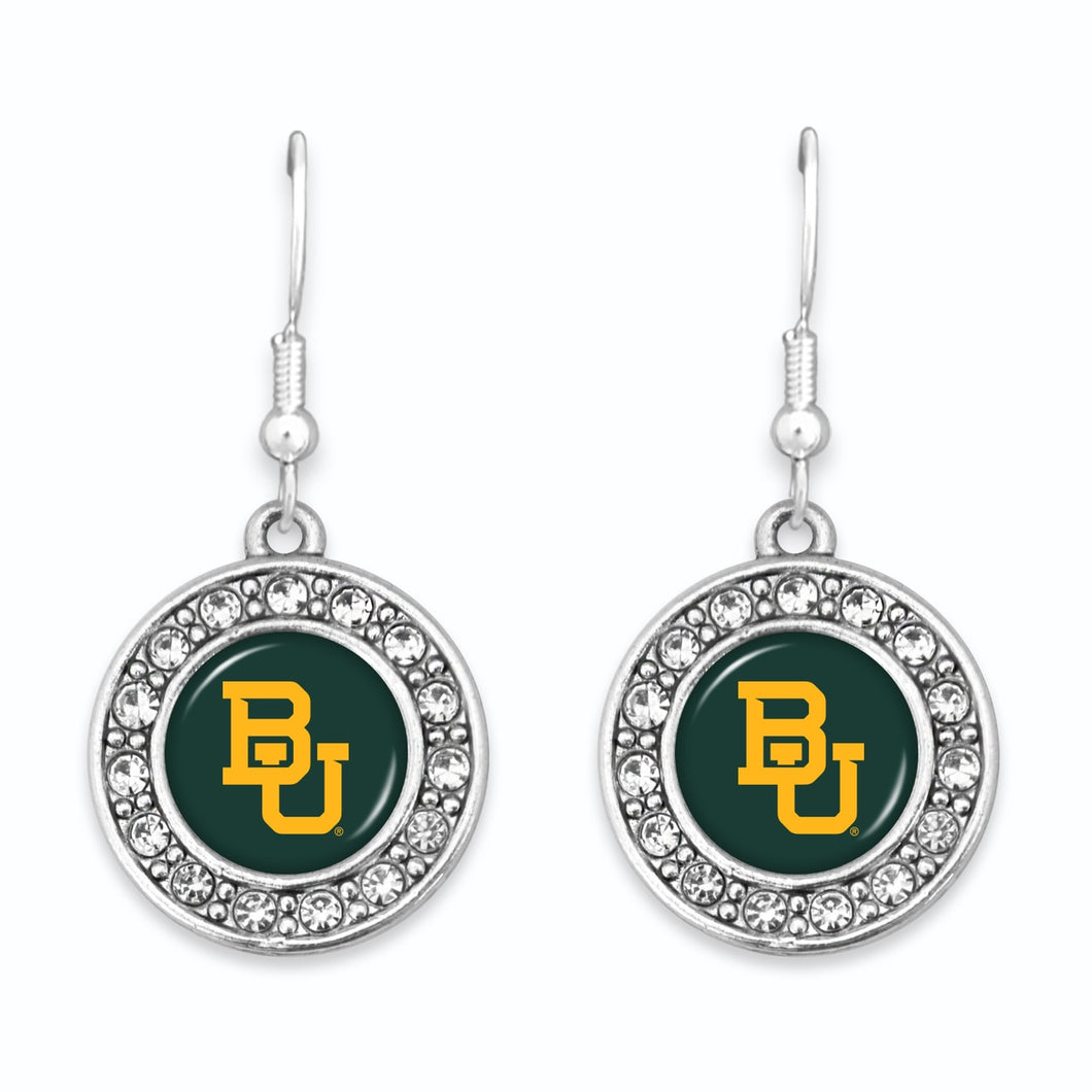 Baylor Bears Abby Girl Round Crystal Earrings