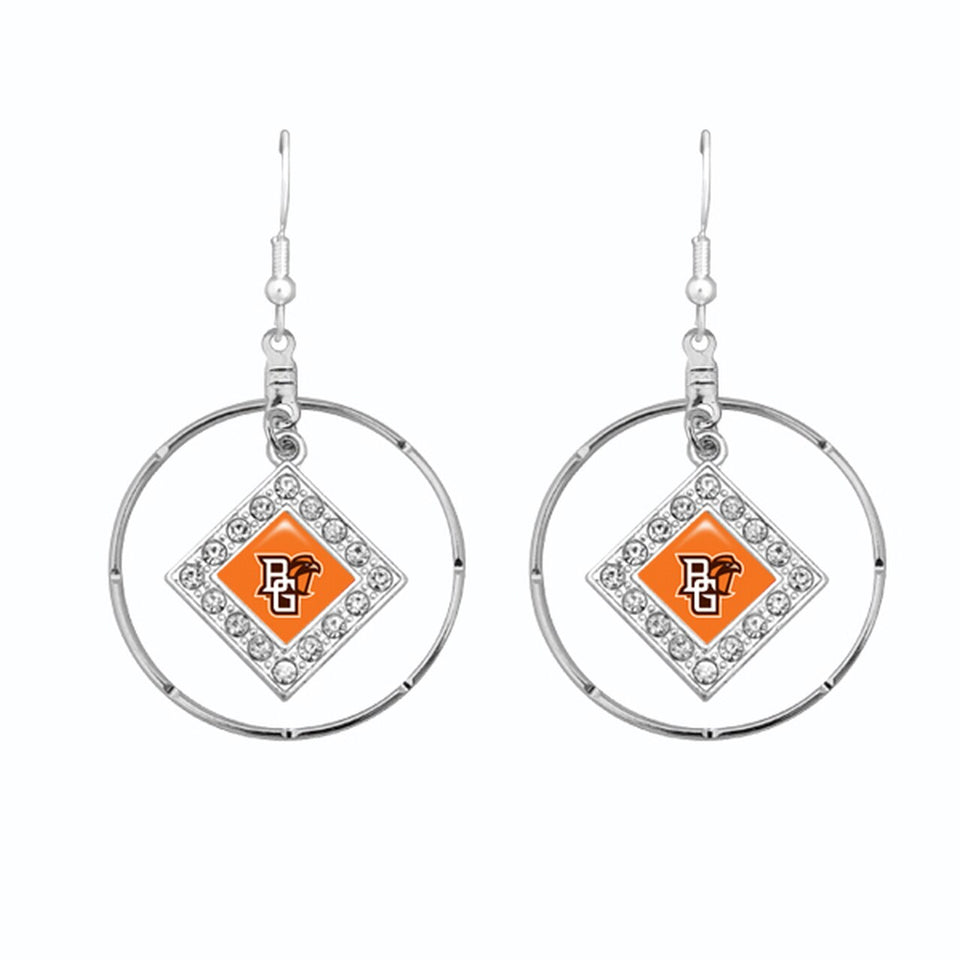 Bowling Green State Falcons Silver Hoop Earrings