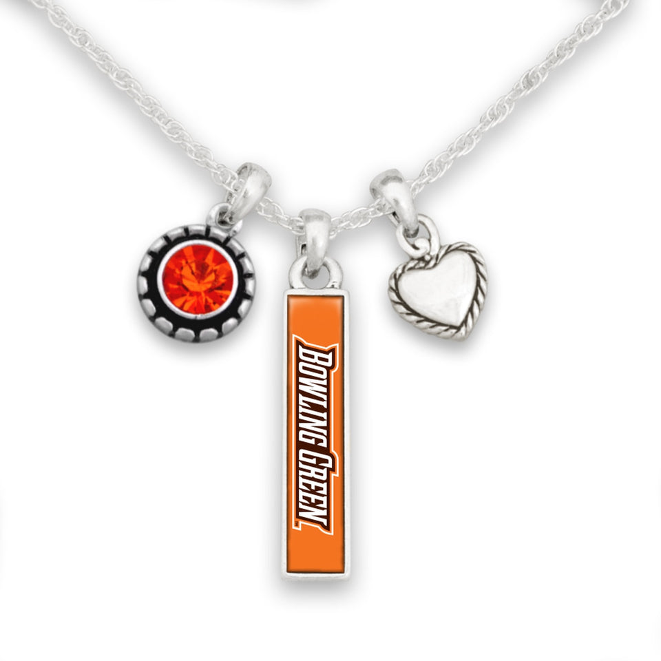 Bowling Green State Falcons Triple Charm Necklace