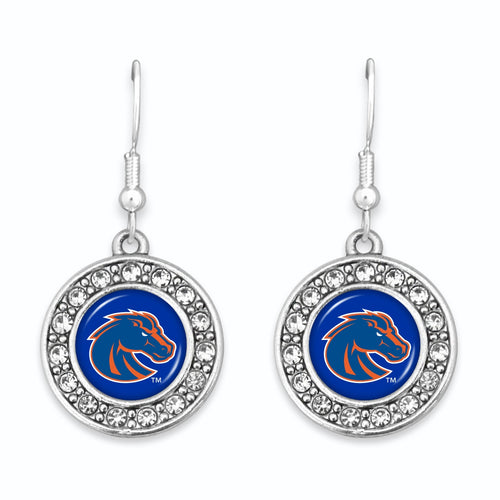 Boise State Broncos Abby Girl Round Crystal Earrings