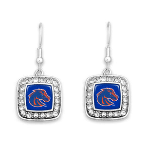 Boise State Broncos Square Crystal Charm Kassi Earrings