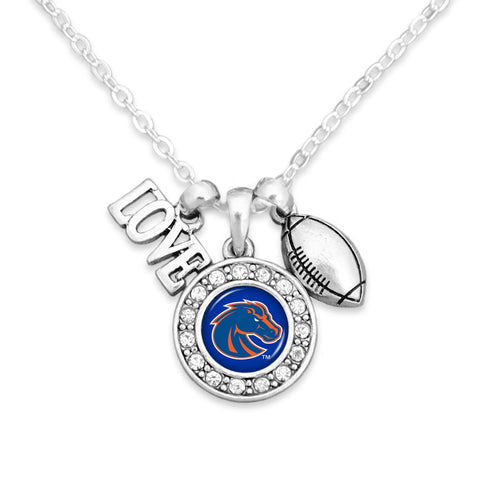 Boise State Broncos Football, Love and Logo Necklace