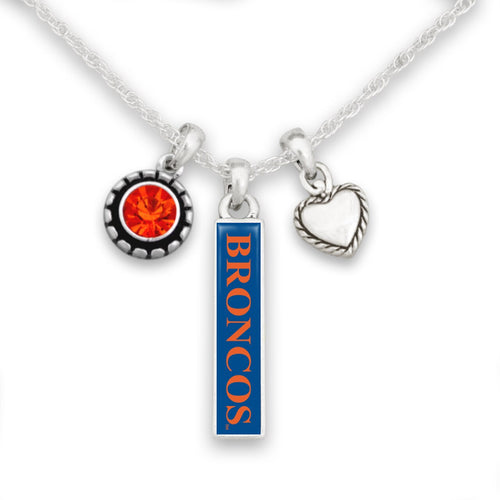 Boise State Broncos Triple Charm Necklace