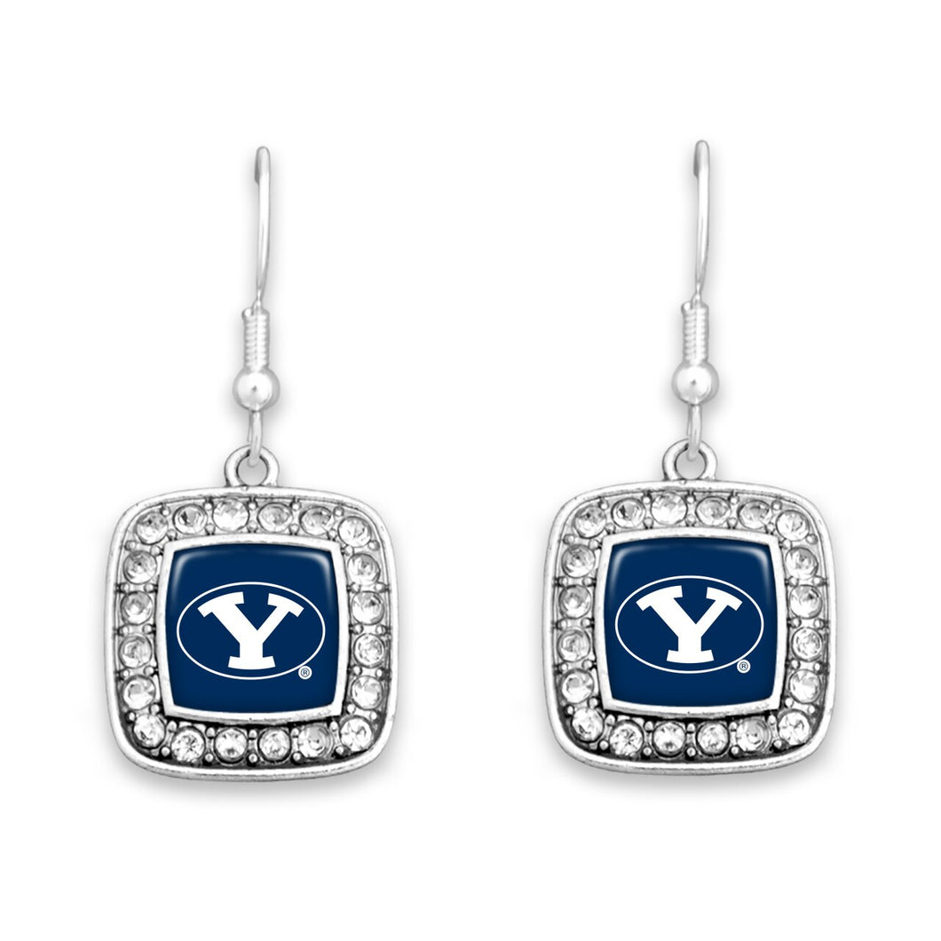 BYU Cougars Square Crystal Charm Kassi Earrings