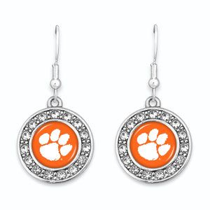 Clemson Tigers Abby Girl Round Crystal Earrings