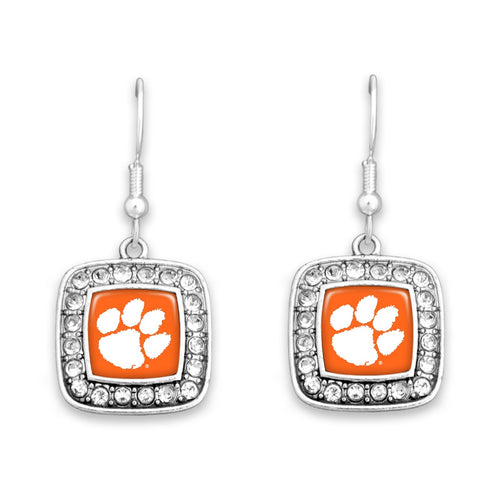 Clemson Tigers Square Crystal Charm Kassi Earrings
