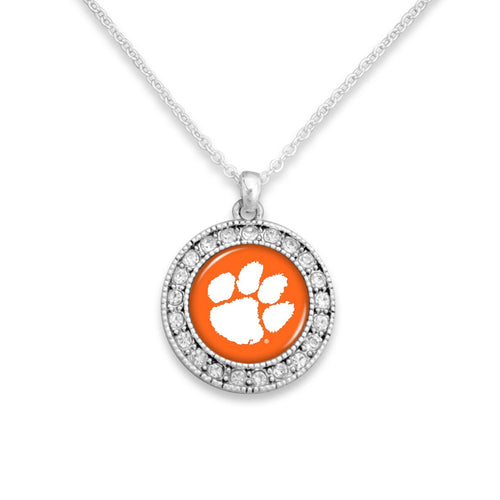 Clemson Tigers Kenzie Round Crystal Charm Necklace