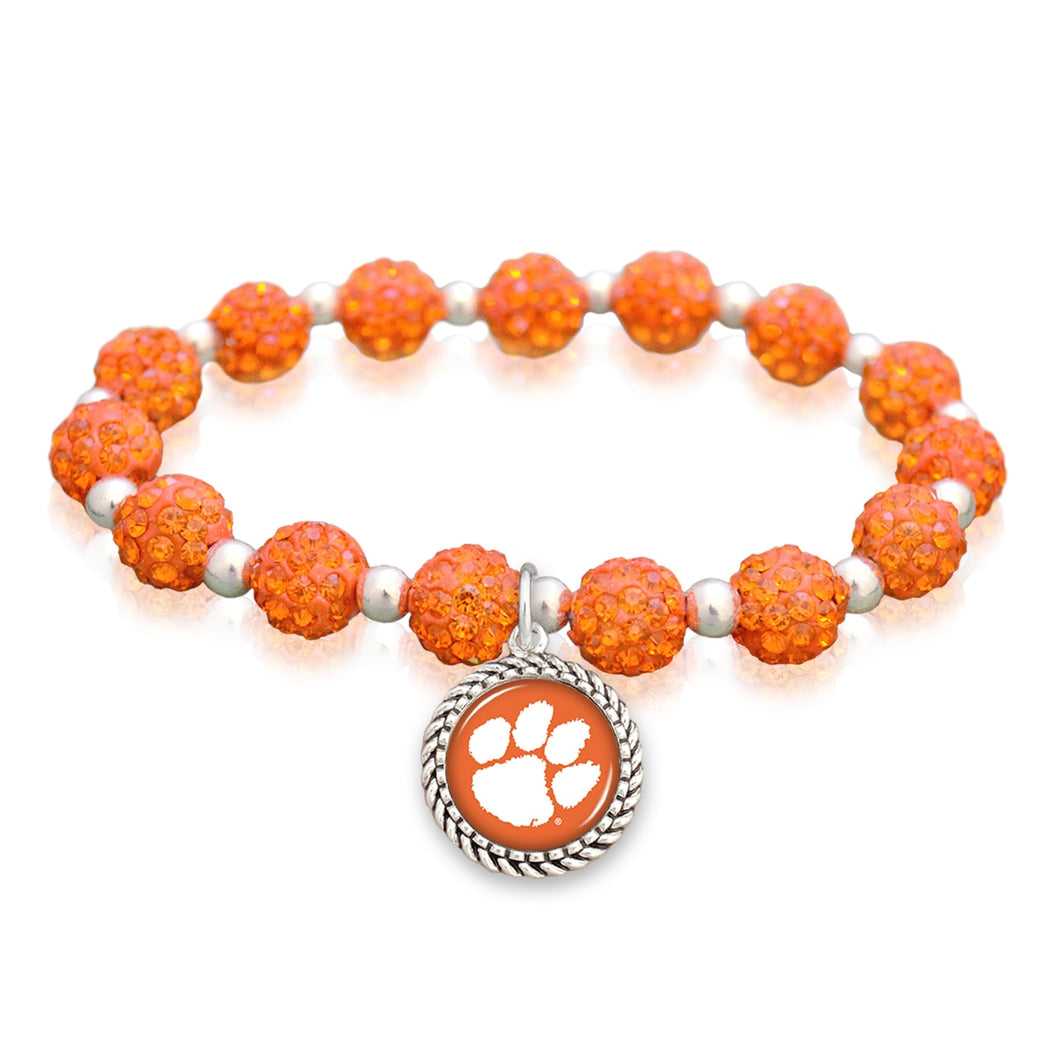 Clemson Tigers Team Color Sparkle Stretchy Bracelet