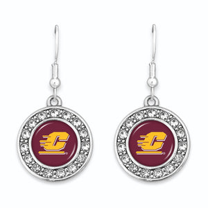 Central Michigan Chippewas Abby Girl Round Crystal Earrings