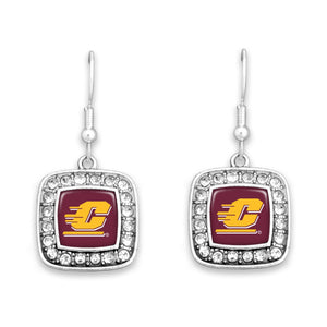 Central Michigan Chippewas Square Crystal Charm Kassi Earrings