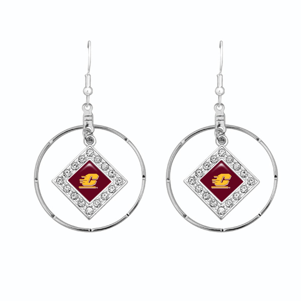 Central Michigan Chippewas Silver Hoop Earrings