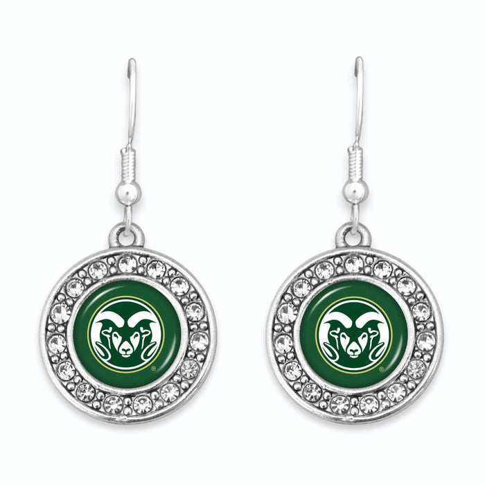 Colorado State Rams Abby Girl Round Crystal Earrings