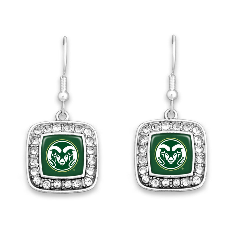 Colorado State Rams Square Crystal Charm Kassi Earrings
