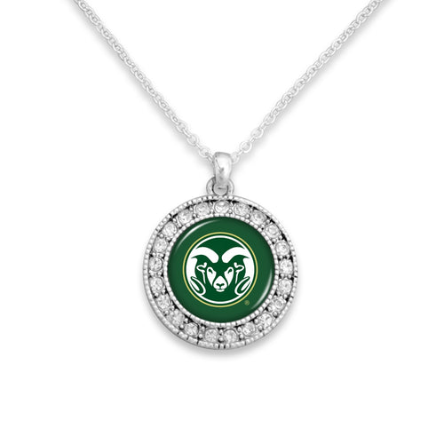 Colorado State Rams Kenzie Round Crystal Charm Necklace