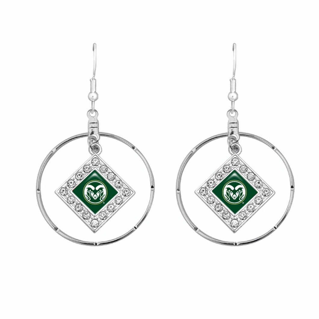 Colorado State Rams Silver Hoop Earrings