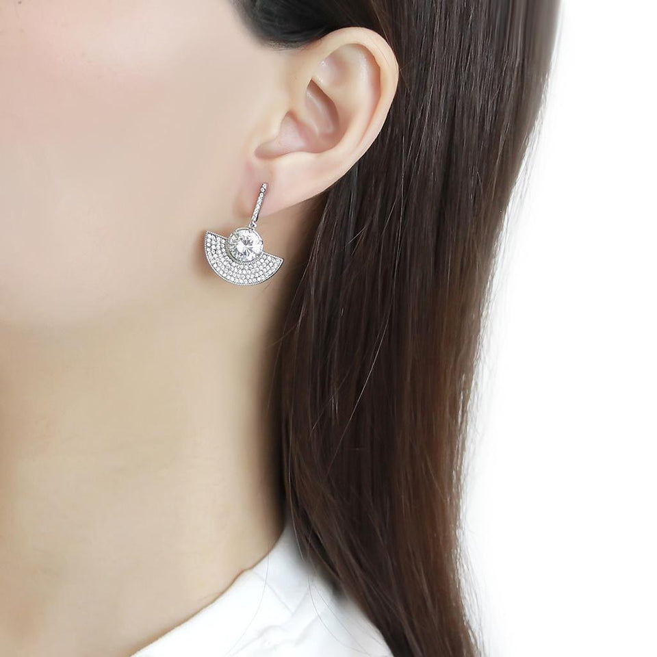 No Plating Stainless Steel Clear Drop Earrings with AAA Grade CZ
