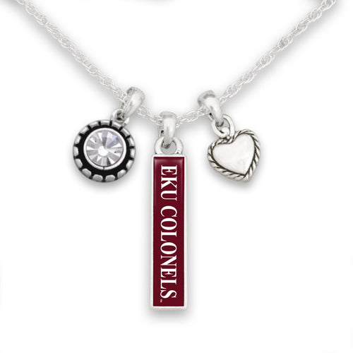 Eastern Kentucky Colonels Triple Charm Necklace