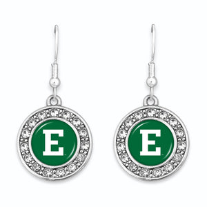 Eastern Michigan Eagles Abby Girl Round Crystal Earrings