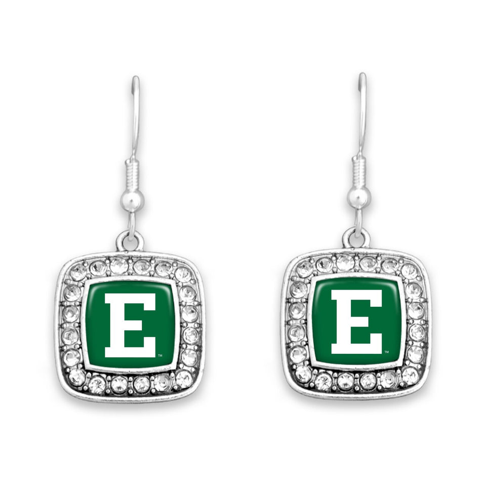 Eastern Michigan Eagles Square Crystal Charm Kassi Earrings