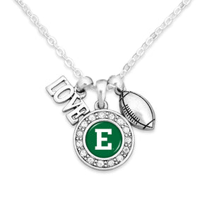 Eastern Michigan Eagles Football, Love and Logo Necklace