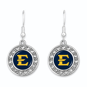 East Tennessee State Buccaneers Abby Girl Round Crystal Earrings