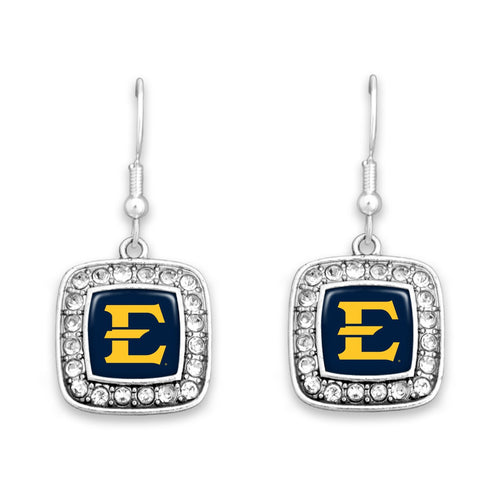 East Tennessee State Buccaneers Square Crystal Charm Kassi Earrings