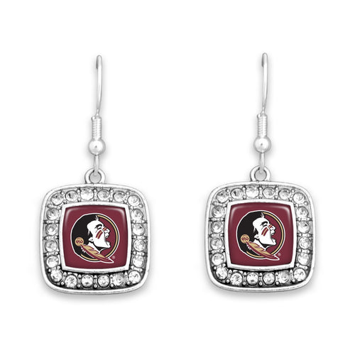 Florida State Seminoles Square Crystal Charm Kassi Earrings