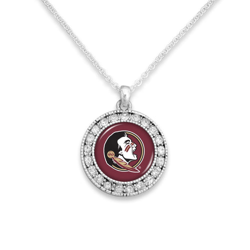 Florida State Seminoles Kenzie Round Crystal Charm Necklace
