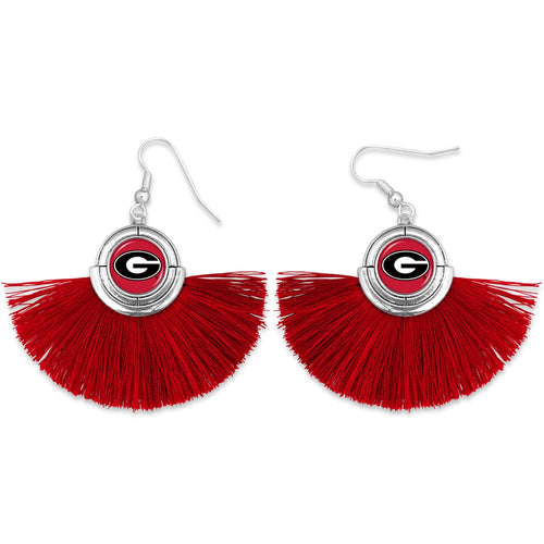 Georgia Bulldogs Tassel Earrings