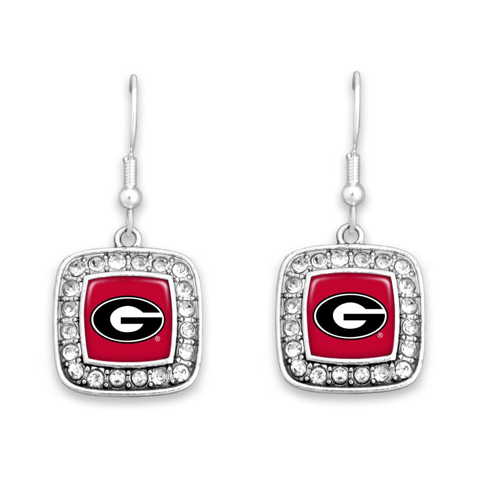 Georgia Bulldogs Square Crystal Charm Kassi Earrings