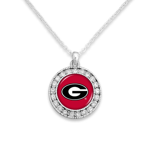 Georgia Bulldogs Kenzie Round Crystal Charm Necklace