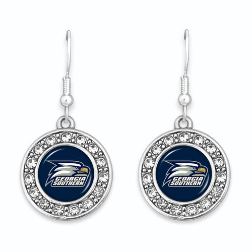 Georgia Southern Eagles Abby Girl Round Crystal Earrings