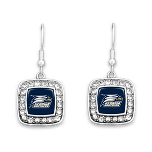 Georgia Southern Eagles Square Crystal Charm Kassi Earrings