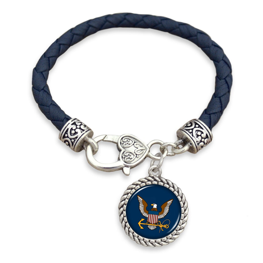 U.S. Navy Leather Bracelet